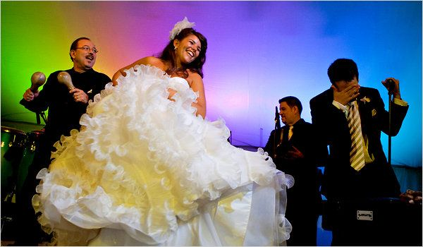 lin-manuel miranda and his wife at their wedding. i'm newly obsessed with in the heights and stumbled upon this while reading about him. this is just such a perfect, happy moment.