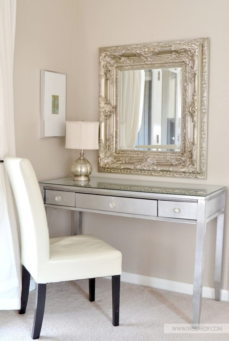 Diy silver leaf vanity made from an old thrift store desk for Bedroom vanity ideas