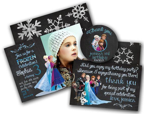 Frozen birthday invitation set - Disney's Frozen - Disney Princess - Princess Anna - Girl Chalkboard Card - Printable