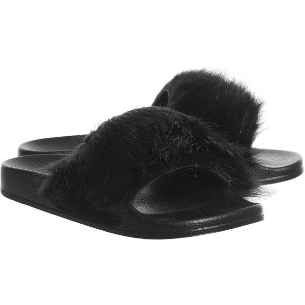 Office Sleepy Faux Fur Pool Slides Black Faux Fur With Black Sole ($34) ❤ liked on Polyvore featuring shoes, faux fur shoes, kohl shoes and black shoes