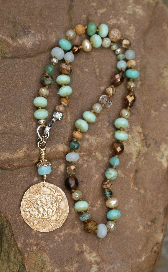 Turtle knotted necklace - beach boho chic, nautical jewelry, symbol of longevity and wisdom, gift for her