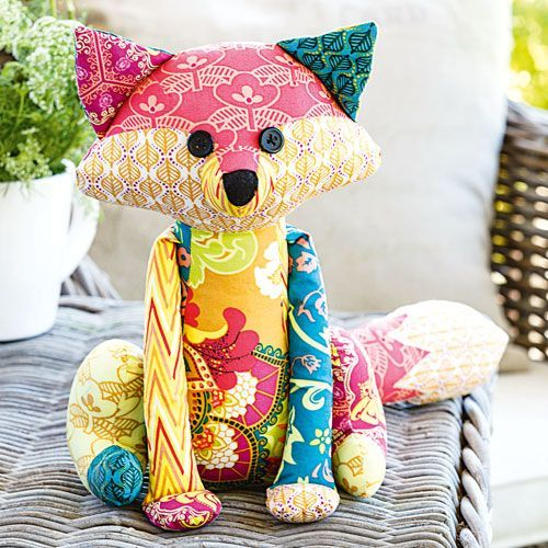 This sweet patchwork fox softie pattern from Anthea Christian will be much loved by people of all ages, from children to stitchers looking for a patchwork friend to sit in their sewing room, and this fox looks very flashy made up in scrappy selection of patchwork fabrics.