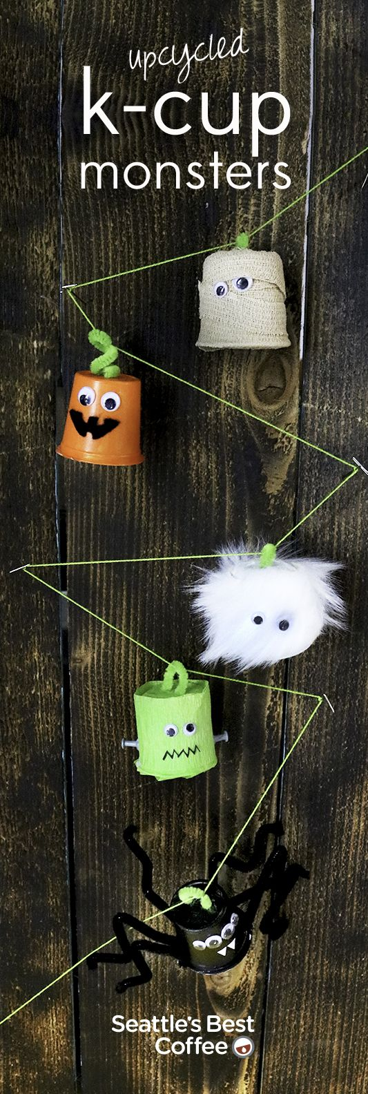 These adorable upcycled K-Cup monsters are perfect for any Halloween party.   MATERIALS: Paint and craft decorations   INSTRUCTIONS: Start with clean, empty K-Cup pods. Paint and decorate to your heart's desire.