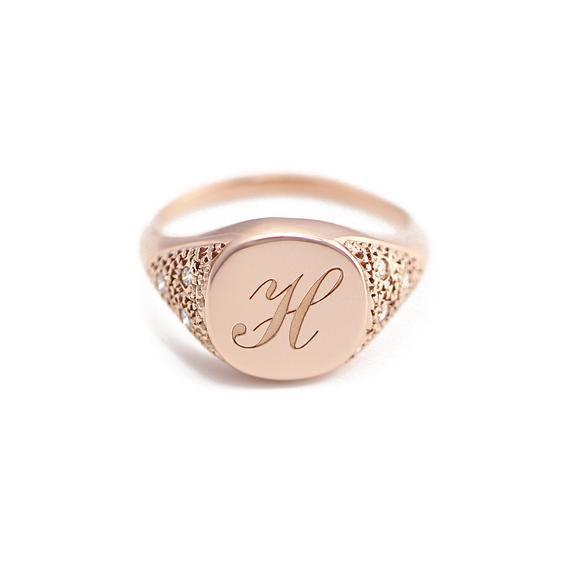 Initial Signet Ring Monogram Initial Diamond Signet Ring Name Signet Ring Minimalist 14k Signet Ring Side Detailed Diamond Signet Ring Diamond Signet Ring Signet Ring 14k Gold Signet Ring