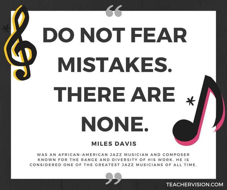"""Do not fear mistakes. There are none."" - Miles Davis  Use this quote as a conversation starter or have students respond by writing.  Share more about Miles Davis with your class:  #music #musicians #jazz #BlackHistoryMonth"