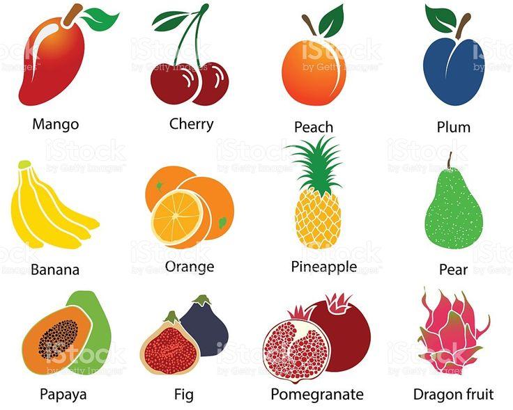 Набор фруктов иконки с название Сток Вектор Стоковая фотография