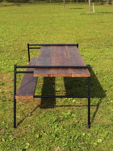 アウトドアテーブル脚、足場板