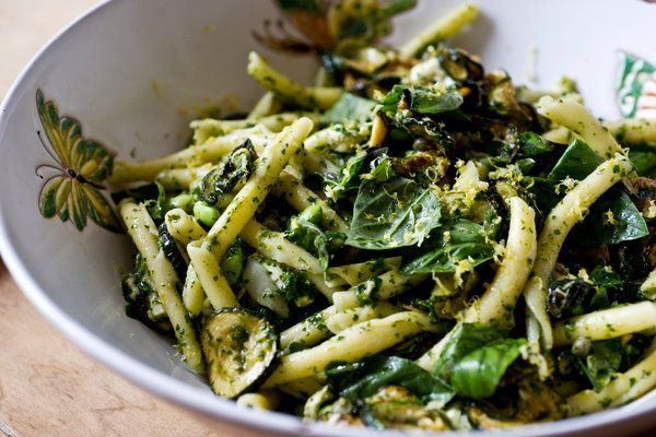 Recipe: Pasta and fried zucchini salad    Photo: Evan Sung for The New York Times