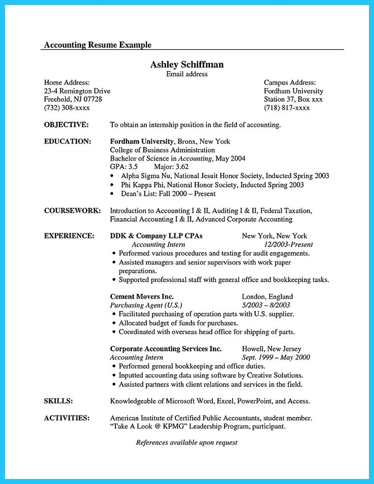 sample accounting resume no experience