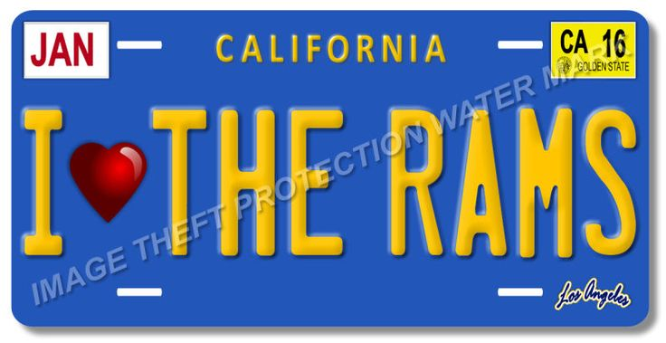 I Love The Rams LA Los Angeles California NFL Football Team License Plate Tag 7