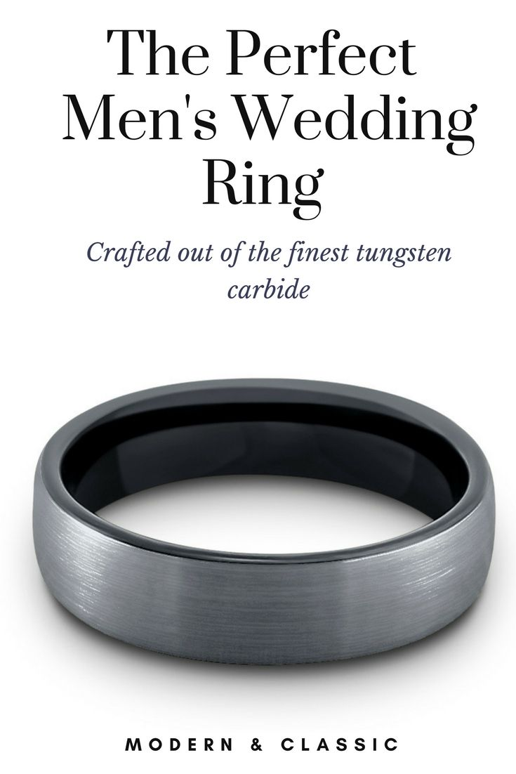 Mens silver and black tungsten wedding ring designed with a silver brushed top. This mens wedding band pulls in both the classic and modern wedding ring.