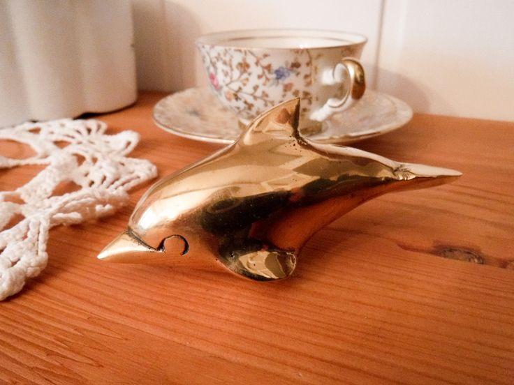 Vintage brass dolphin / vintage brass statue / brass figurine / dolphin statue / brass dolphin / brass knick knack / brass statuette by GrandmasOldStories on Etsy
