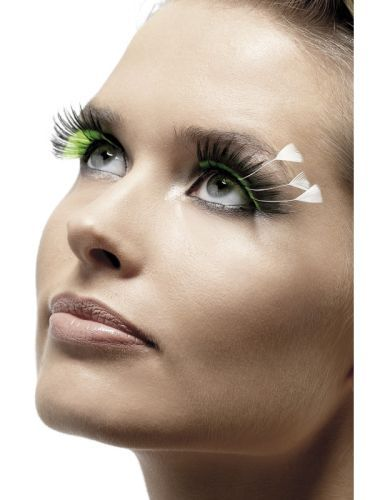 Adult Sexy Green & Black With Feathers Eyelashes Ladies Fancy Dress Accessory (34987) | Costume Accessories | Costume Finishing Touches | Luxury False Eyelashes
