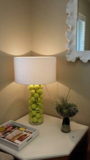 """Lamp idea for the tennis enthusiast. #tennisdecoration #tennisideas #tennisdiy. Buy tennis balls --> <a href=""""http://www.tenniswarehouse-europe.com/Tennis_Balls.html?lang=en&vat=GR&from=tnewsgr"""" target=""""_blank"""">link</a>"""
