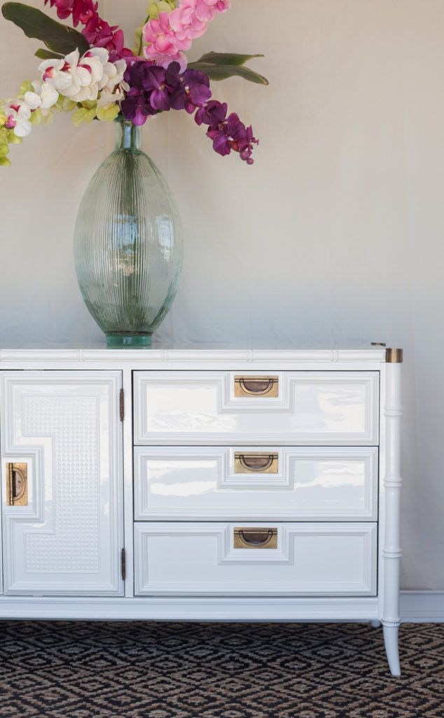 Source for lacquer high gloss finish Vintage Stanley faux bamboo dresser in glossy White Dove