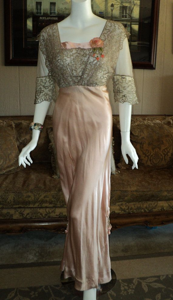 Rare Gown with Silver Metallic Lace with pink ribbon work Circa 1910