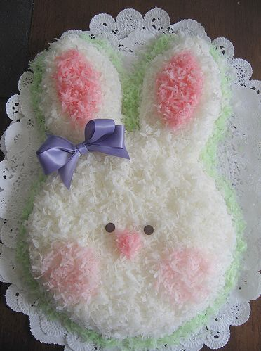 coconut easter bunny cake. This picture is for inspiration. Two round cakes, cut one in two pieces and place on cardboard lined with foil or whatever you want to use. Have fun decorating! We used jelly beans for the eyes and nose. Just an idea for you. Have fun!