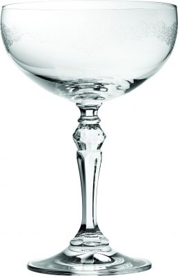 Filigree Engraved Crystal Champagne Saucer - for a touch of elegance in your restaurant or at your party.