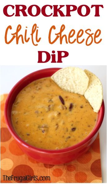 Crockpot Chili Cheese Dip Recipe! ~ this delicious Slow Cooker dip couldn't be easier with only two ingredients! (I've made it in the microwave so I KNOW it's yummy!)