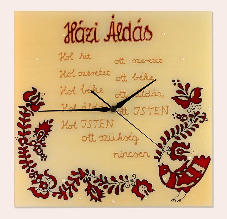 Haussegen - Házi áldás - Handmade - Handbemalte - kézzel festett üvegóra - 30x30
