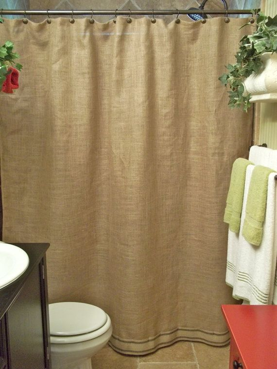 Burlap Shower Curtain  Black Stripe Trim  by SimplyFrenchMarket, $55.00