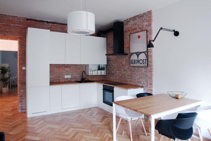 Recycled Drum Lamp by ekodizajn in cosy modern apartment. Interior design and photo: Studio Metry, Warsaw #recycled #lamp #washingmashine #drum #drumlamp #etsy #ekodizajn #brickwall #white #kitchen