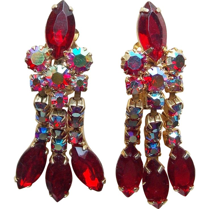 Gorgeous Red & Red Aurora Rhinestone Vintage Dangle Earrings - As Made.   https://www.pinterest.com/clarasjewelry/christmas-on-ruby-lane/