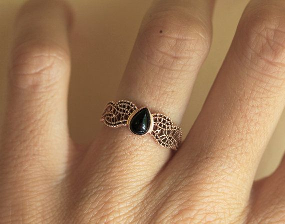 Rose Gold Lace Ring Black Onyx Ring Gold Onyx Ring by MinimalVS
