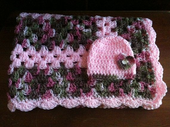 Crochet Pink Camo Blanket Crib Size 36 Quot X36 Quot Beanie 0 3