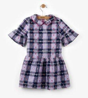Puffy Purple Plaid Dress