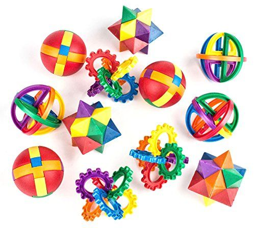 """Fun Puzzle Balls by Neliblu - Bulk Party Favors - Party Games - Fidget Brain Teaser Puzzles 2.5"""" - 1 Dozen Bulk Pack By Neliblu - This variety of plastic puzzles provides challenging mental exercises for sharp young minds. Instructions included. For ages 5+. These mind-boggling plastic puzzles make great party favors! Perfect for children birthdays, class rewards, fair or carnival prizes, goody bags, stocking stuffer, Easte..."""