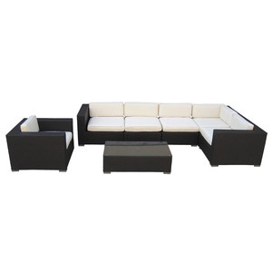 """Place an outdoor sofa against a wall/ border to act as """"built in"""" seating. Use lightweight, cushion-less chairs as side chairs?"""