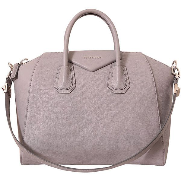 Givenchy Antigona medium leather bag (225455 DZD) ❤ liked on Polyvore featuring bags, handbags, grey, leather purse, zipper purse, gray handbags, gray leather purse and genuine leather purse