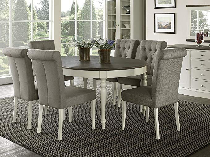 Everhome Designs Vegas 7 Piece Round To Oval Extension Dining