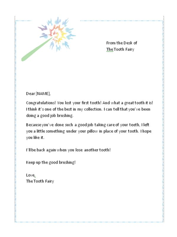 First lost tooth letter from the tooth fairy free tooth for Free printable tooth fairy letter template