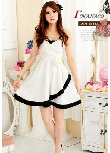 USD$10.31 Sweet Ruffles Lace Flower Backless Artificial Silk White Tube Dress  at martofchina.com