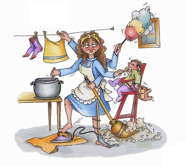 Смешной рисунок домохозяйка