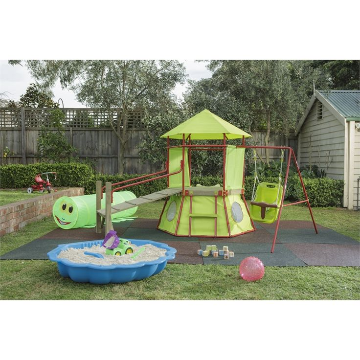Swing Slide Climb Green Rubber Play Paver