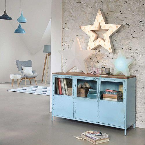 Credenza blu con vetrine in metallo L 130 cm