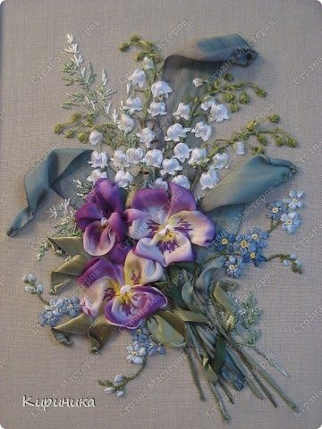 ribbonwork - i love the colors here!  *********************************************   (repin) #silk #ribbon #embroidery #flowers