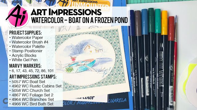 Art Impressions Blog New Video Boat On A Frozen Pond Watercolor