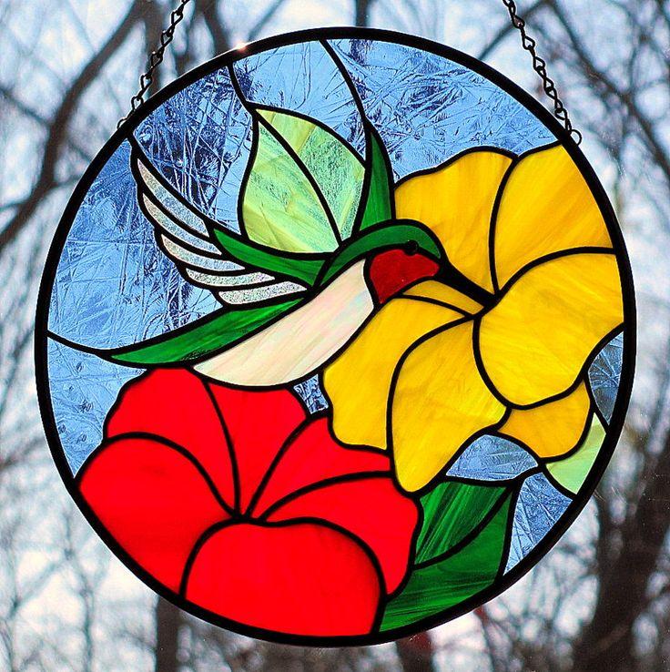 Stained Glass Hummingbird Suncatcher Red Yellow Flowers. $85.00, via Etsy.