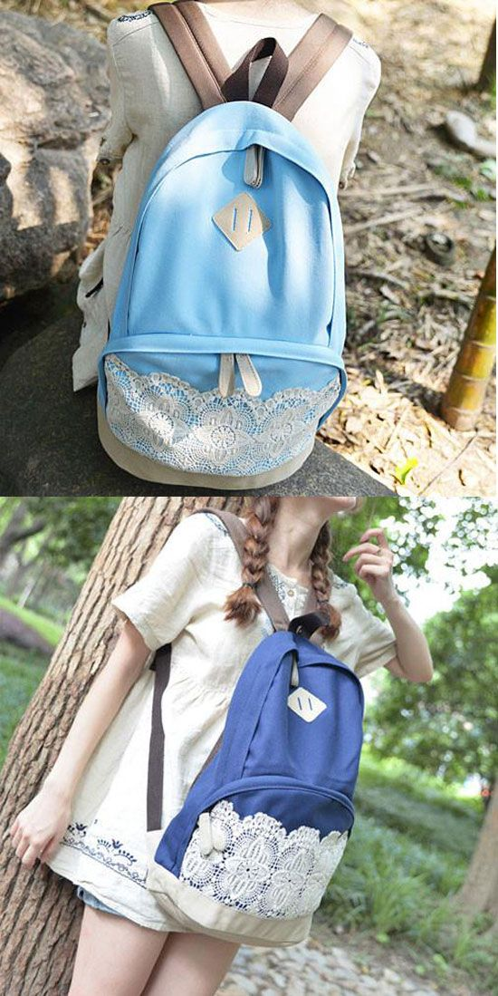 Fresh Simple Lace Canvas School Backpacks for big sale in summer! #summer #lace #backpack #school #college #bag #girl #student #leisure #travel