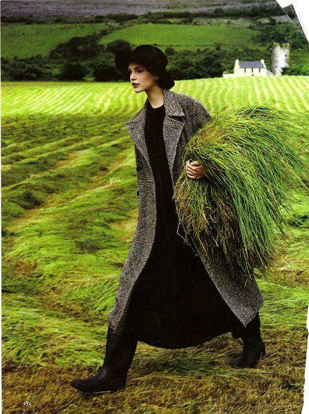 Arthur Elgort: Nadja Auermann in Ireland, Vogue (1993)