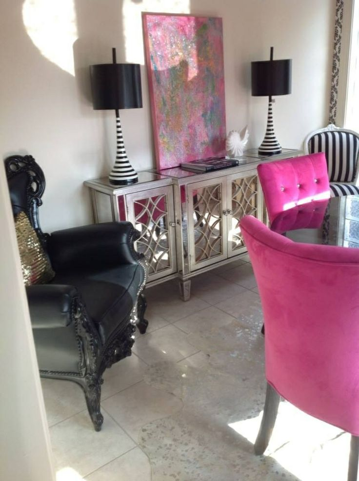 Glam dining room: perfection! black, white, pink, stripes, lamps, mirrored buffet. Oh my!