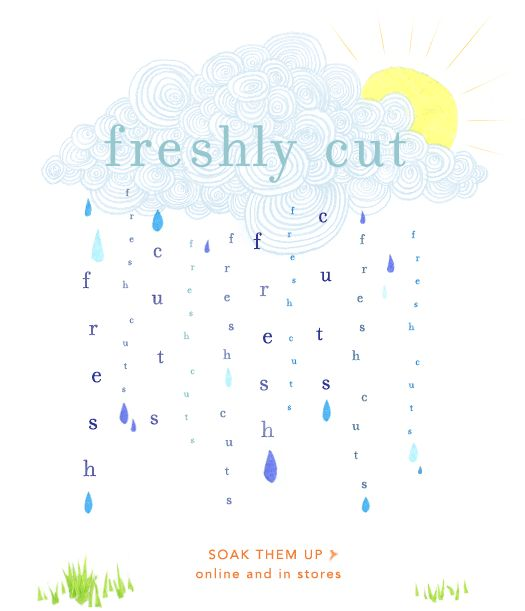 Anthropologie gif - raining letters - todays forecast: fresh cuts!