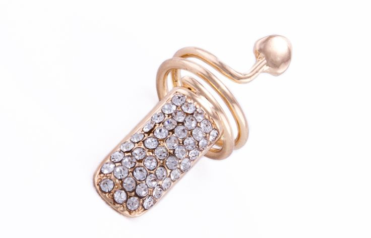 Rhinestone encrusted Nail Ring with heart detail. Available in plated gold or silver. Nickel-free so it does not rub off.  Order at our online candy store www.nailcandi.co.za