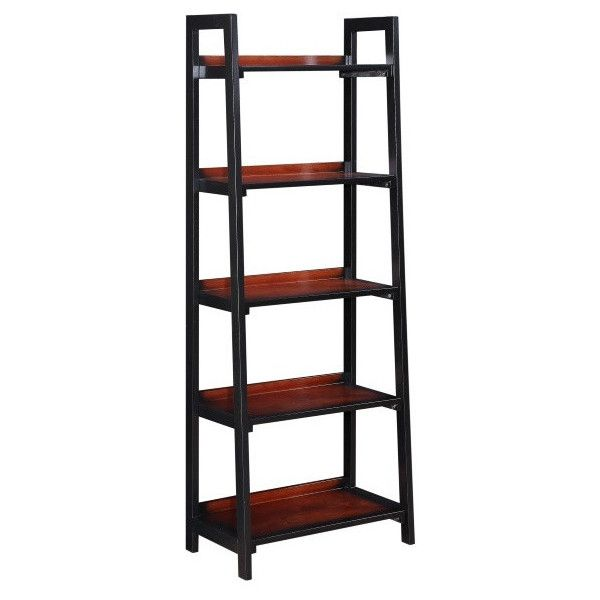 Linon Camden Ladder Bookcase Black Cherry ($56) ❤ liked on Polyvore featuring home, furniture, storage & shelves, bookcases, ladder bookshelves, ladder book case, transitional furniture, ladder bookcase and ladder furniture