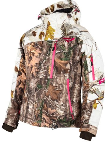 FXR Women's FRESH JACKET - CAMO (2015). Realtree-AP Snow. •Insulated •Durable polyester shell with Reissa® laminate •2,000mm/2,000m/g² waterproof/breathable • Durable water repellent finish •Quick dry mesh lining with warm brushed fleece back insert •200g body/150g sleeve Thermal Flex™ insulation. http://www.upnorthsports.com/snowmobile/snowmobile-clothing/snowmobile-jackets/womens-jackets/fxr-womens-fresh-jacket-camo-2015.html