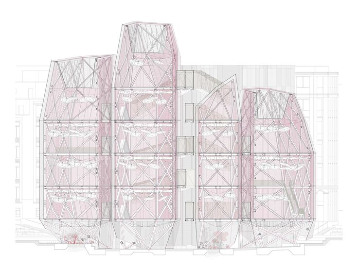 Time Bank in Madrid. Architecture section. Social Project. Drawing. Textile architecture.